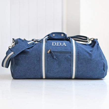 Personalised Vintage Overnight Holdall Denim Blue